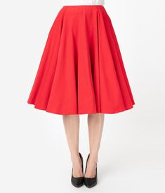 You definitely have that swing when you step out in this bright red midi skirt! Part of our ModCloth namesake label, this circle skirt touts a vintage-inspired, high-waisted design, and will surely influence a plethora of dance-worthy ensembles. Long Skater Skirt, Long Circle Skirt, High Waisted Skater Skirt, Full Midi Skirt, Midi Flare Skirt, Flared Skirt, Waist Skirt, Vintage Brand Clothing, Retro Clothing