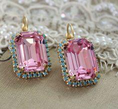 Pink Turquoise Drop earrings Pink Swarovski earrings by iloniti