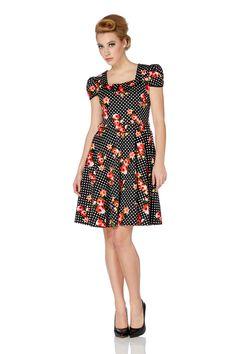 Voodoo Vixen Polka Dot Floral Jemima Dress | 50's Styles | Free UK Delivery