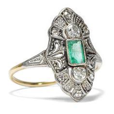 Feiner SMARAGD RING aus 585 Gold & Platin mit Diamanten, Diamant / emerald