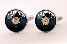 Band Vinyl Cufflinks,Photo Cufflinks,Groomsmen Wedding Cufflinks