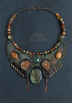 Embroidered Necklace Beadwork jewelry boho от LenaSinelnikArt
