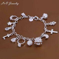 H144 atacado! 925 bracelete de prata da jóia da forma charme pulseira 13 pingentes pulseira