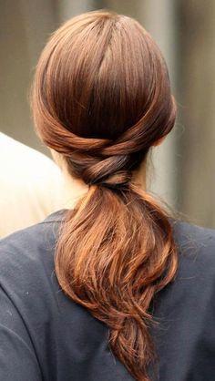 Braided hair above a low ponytail. #hair #braid #ponytail