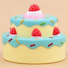 Vlampo cute happy birthday cake blue icing squishy kawaii