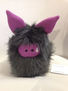 Licorice is ready to be adopted - who is looking for a monster friend? Fuzzling: Handmade plush monster