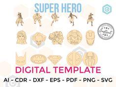SUPER HERO for LASERCUT cut files clipart Silhouette Dxf Eps | Etsy Vinyl Sticker Paper, Vinyl Decals, Blog Design, Web Design, Cnc Router Plans, Vinyl Labels, Party Banners, Silhouette Designer Edition, Marvel Dc