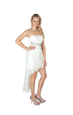 Strapless High Low Dress with Ruched Bodice and Stone Empire Waist
