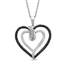 1/3 CT. T.W. Enhanced Black and White Diamond Double Heart Pendant in 10K White Gold - Zales