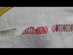 Sfilatura con rombi forati a punto rammendo - Tutorial ricamo a mano hand Embroidery Deshilado - YouTube