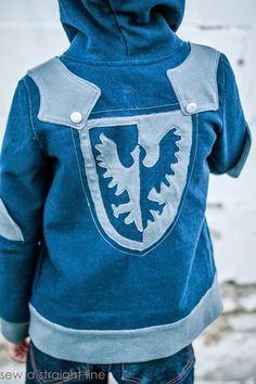 Knight Hoodie with shield applique.  Pattern by Charming Doodle, sewn by Sew a Straight Line