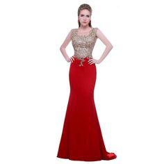 Barato Noble Prom Vestidos de Moda de Nova com O neck Mangas Apliques de Pedra Red Mermaid Evening Formal Vestidos Vestido de Feasta, Compro Qualidade Vestidos de Noite diretamente de fornecedores da China:                                                                 &n