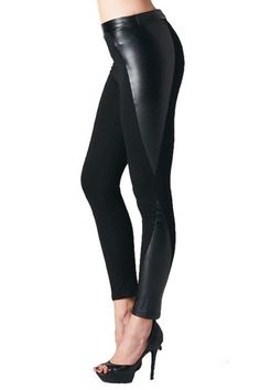 My Leather Half Vegan Leather Panel Leggings - Black - $40.00 | Daily Chic Bottoms | International Shipping