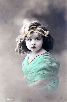 hand-painted edwardian photograph of little girl