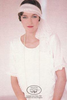 laura ashley wedding photo print ad 80s does 20s 30s white dress headband