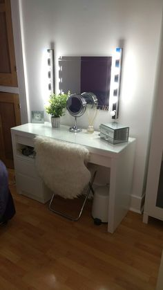 When your boyfriend is amazeballz and creates the dressing table of your dreams  IKEA Malm dressing table. IKEA Magik Hollywood style strip lights. IKEA Kullen 2 chest drawer. *Supplier gave us one dud lamp bulb that we'll replace. #dressingtable #ikea #makeup #malm #hollywoodlights #hollywoodmirror