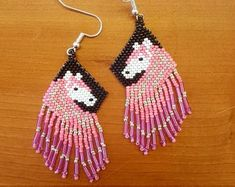 Beaded Horse Earrings, hand crafted by Navajo artist Agnes Davis. These earrings are authentic Native American made. Brick Stitch Earrings, Seed Bead Earrings, Fringe Earrings, Beaded Earrings, Etsy Earrings, Seed Beads, Crochet Earrings, Beading Projects, Beading Tutorials