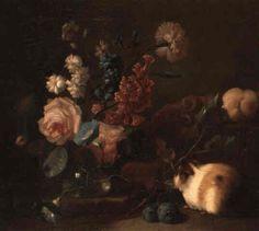 Stilleben mit Blumen, Früchten und Meerschweinchen by Franz Werner von Tamm Global Art, Art Market, Past, Painting, Guinea Pigs, Hamburg, Flowers, Past Tense, Painting Art