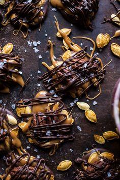 Chocolate Covered Roasted Pumpkin Seed Turtle Clusters   halfbakedharvest.com @hbharvest