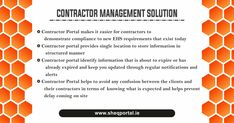 SheqPortal, A Contractor management software company that designed software for general contractors. Manage your contractor information simply and easily