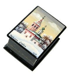 Suzdal Miniature Fedoskino Lacquer Box #dollindoll #Russiandoll #Russiangifts #Russiantoy #babushka #lacquerbox #babooshkadoll #stackingdoll #Woodendolls #matryoshka #nestingdolls #nestingdoll #Russianbox #nesteddoll Unique Gifts For Kids, Russian Winter, Wooden Dolls, Winter Landscape, Hello Everyone, Scene, Hand Painted, My Favorite Things, Box