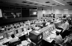 Inside mission control at the Johnson Space Center during the Apollo 8 mission, Houston, Texas, December 23, 1968. (NASA)