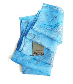 Blue Marbled Pocket Squares. $15.00, via Etsy.