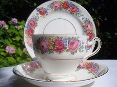 Vintage Imperial China Tea Set Trio, Tea Cup, Saucer & Side Plate Big Pink Rose