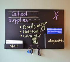 Mail organizer blackboard small wall mounted pockets and hooks. $149.95, via Etsy.