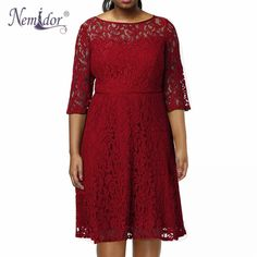 Cheap lace dress, Buy Quality a-line dress directly from China dress plus Suppliers: Nemidor 2017 Women Vintage O-neck Party Plus Size Lace Dress Half Sleeve Midi Casual Swing A-line Dress Short Lace Dress, Chiffon Dress, Short Dresses, Half Sleeve Dresses, Half Sleeves, Happy Birthday, Islamic Clothing, Plus Size Shorts, Cool Stuff