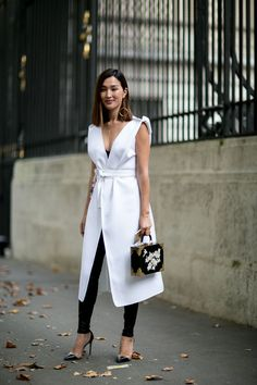 The Best Street Style From Paris Fashion Week Spring 2016 | Sleeveless