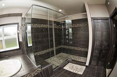 Large glass walled shower