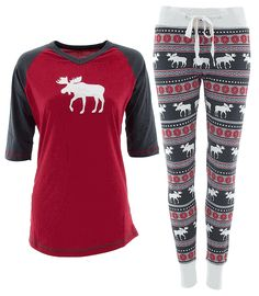 This Lazy One brand pajama set has a classic fair isle print design. The red and grey top has a moose printed on the front. The fitted top has a long body, V-neck and 3/4 raglan sleeves. The pajama bottoms are a fitted jogger-style pants that feature a moose and fair isle print. The bottoms have a drawstring at the waist and cuffed leg bottoms. The fabric is 100% cotton and machine washable.
