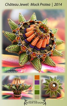 Eva Maria Keiser Designs: Chateau Jewel: Mock Protea | 2014. I may have to make one of these for a home accent! Goes perfectly with new decor centered around the Protea flower!