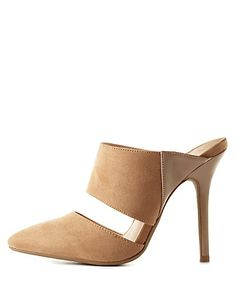 These look like the ones from Love, Lust, or Run that Stacey put on Barbie.  I've been looking for a pair like that - no shopping info on their site yet Never heard of this brand - faux suede and leather : ( Pointed Toe Mule Heels