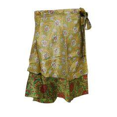 Mogul Women's Magic Wrap Around Skirt Reversible Silk Sari 2 Layer Green Resort Wear Cover Up Mini Skirts