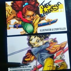 Cartoon/Anime Artist business cards featuring strong females in a powerful role! Nice!