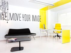 Lexington Avenue Agency Offices - white furniture with bright pop of colour on…