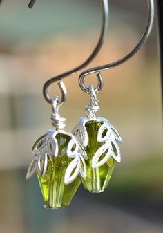 Olive Green Leaf Earrings
