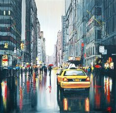 Artista di Paul Kenton - Taxi Lights, Artmarket Contemporary Art Gallery Source by nra Urban Landscape, Landscape Art, Paul Kenton, A Level Art Sketchbook, Reflection Art, Urbane Kunst, Cityscape Art, Galerie D'art, Environmental Art