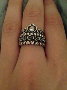 "Stackable pandora rings- ""my princess"" ""floral elegance"" ""forever love"""