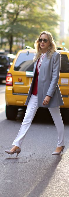 The Classy Cubicle: Wearing White in Winter. {reiss grey wool coat, white silk nanette lepore pants, fuchsia blazer, floral blouse, grey suede pumps}
