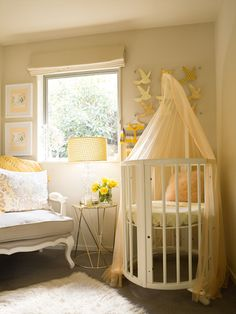 Soaked in Style Soaked in Style | Styling & Interior Design Award winning Nursery, Yellow, grey, caramel, gold, peach and coral. Stokke Bassinet, Cot.