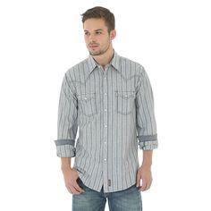 Wrangler Men's Retro Long Sleeve Western Snap Dobby Stripe Shirt (Size: Medium) Dark Blue