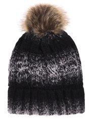 Tuque de tricot tressé chiné pour dame avec pompon de fausse fourrure Mode  Choc, Tricot fcc44c06695