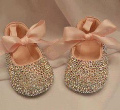 Pink Baby Rhinestone Shoes Swarovski Crystal leather shoe wedding shoes flower…