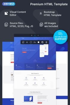 PixLab - Software Company Ready-to-Use Creative HTML Website Template Html And Css Templates, Html Website Templates, Corporate Website, Website Web, Creative Company, Website Design Inspiration, Software Development, Engine, Website Company