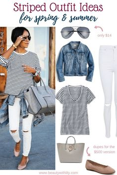 Striped outfit ideas // casual spring outfit ideas // spring fashion // s. Casual Fashion Trends, Summer Fashion Trends, Spring Summer Fashion, Spring Outfits, Trendy Fashion, Womens Fashion, Feminine Fashion, Fashion Ideas, Fashion Fall