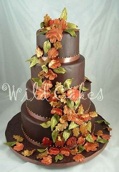 Autumn Leaves Wedding Cake by Wild Cakes - For all your cake decorating supplies, please visit craftcompany.co.uk