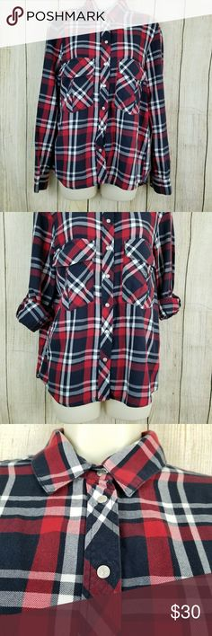 """Zara women  plaid flannel shirt Red , white and blue plaid flannel shirt.  Size medium, in like new condition.  100% cotton, snap button closure.    Measurements armpit to armpit 20"""" length 25"""" sleeve length 19. zara women Tops Button Down Shirts"""